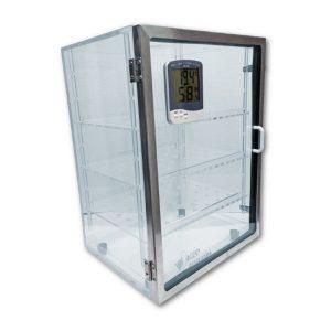 Gabinete desecador modelo DV-1004posición vertical con termohigrómetro digital